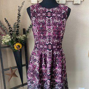 Vince Camuto Floral Purple A-Line Dress 6